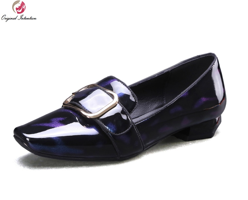 Original Intention Popular Women Casual Shoes Fashion Patent Leather Square Toe Fashion Blue and Purple Shoes Woman US Size 4-10 keyconcept france original feiyue shoes classical kungfu shoes taiji shoes popular