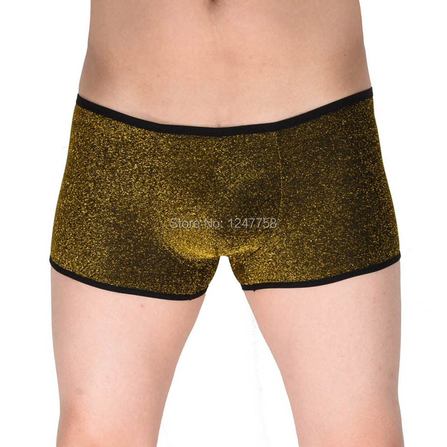 Shiny Mens Cheeky Booty Boxers Bluge Pouch Thong Pants Male Soft Boxers short