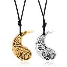 Dongsheng star wars rosa e paige tico colar o último jedi crescente pingente forma da lua corda de couro artesanal filme jóias