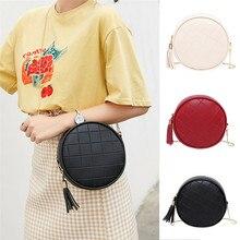 NoEnName Fashion Women Tassel Round Chain Bag PU Leather Shoulder Crossbody Handbag Messenger