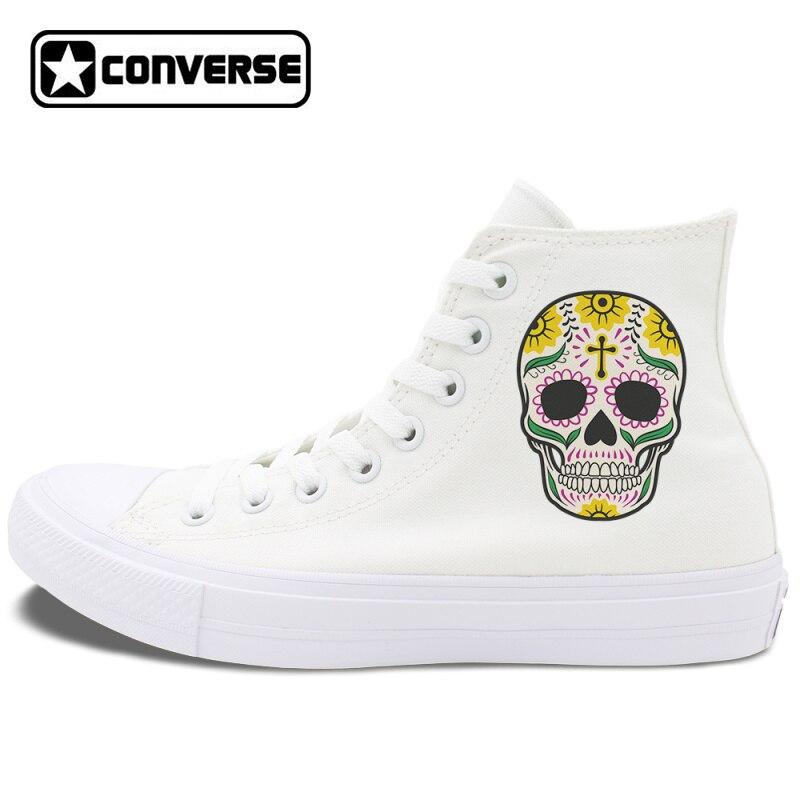 original design mexican skulls colorful tattoo converse chuck taylor ii skateboarding shoes men. Black Bedroom Furniture Sets. Home Design Ideas