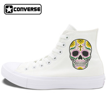 Original Design Mexican Skulls Colorful Tattoo Converse Chuck Taylor II Skateboarding Shoes Men Women's Canvas Sneakers