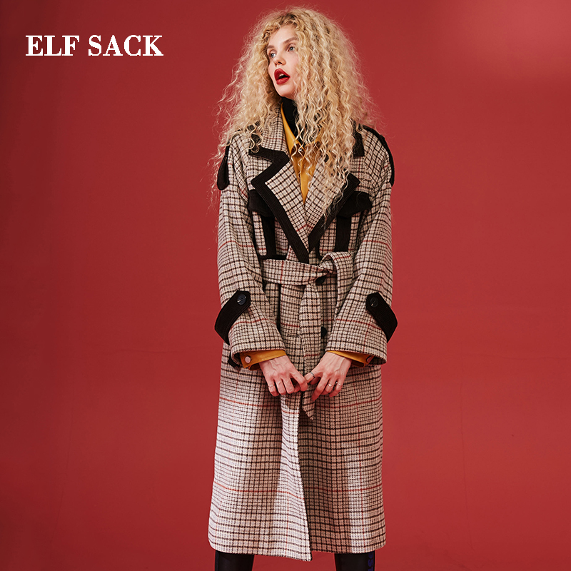 ELF SACK Winter New Woman Wool Jacket Full Long Plaid Wool Coats Women Blends Casual Wide