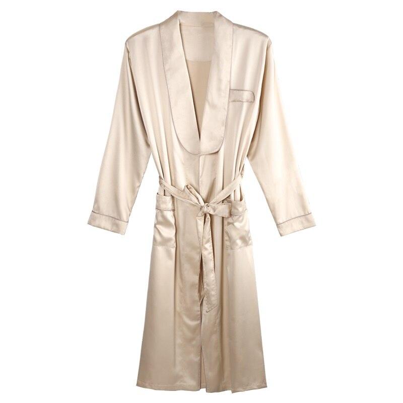 New Men Gold Lounge Sleepwear High-grade Silk Nightwear For Men Comfort Silky Bathrobes Noble Dressing gown Men's Sleep Robes
