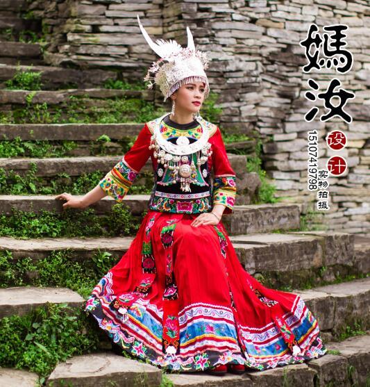 2017 New Fashion classic style Miao costumes Embroidery Minority costumes Wedding dress