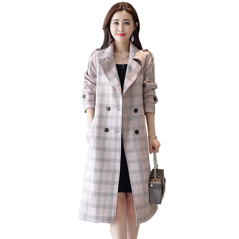 High quality Plaid   Trench   Coat Women 2019 Spring Autumn Slim Windbreaker Long Coat Female Belt Casual Tops Plus size Women A2516