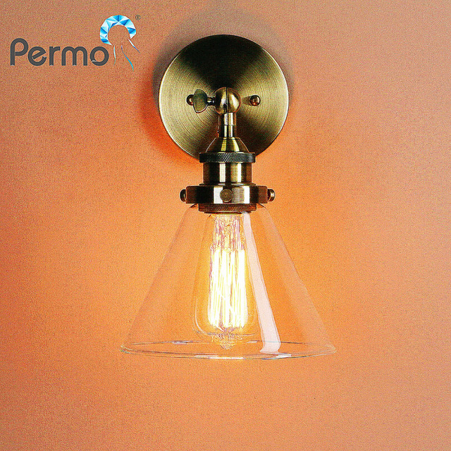 Permo Retro Antique Funnel Glass Shade Wall Sconce Light Fixtures Modern Metal Lamp Holder Loft