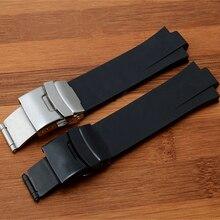 Marka 24mm x 11mm Siyah Yüksek Kalite silikon kauçuk saat Kayışı Su Geçirmez Katlanır Toka Oris Için AQUIS Kordonlu Saat Bilezik