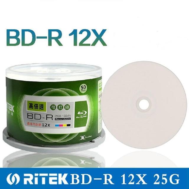 Double Yi 50 Pieces Ritek 25GB BD R 2 12X Speed A+ Grade Printable Blu ray Blank BDR Disc original cake box