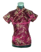 Hot Sale Burgundy Female Satin Jacquard Costume Noble Slim Shirt Tops Vintage Tang Suit Short-Sleeve Blouse S M L XL XXL J002-E