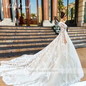 Image 5 - アシュリーキャロル高級ビーズレースプリンセスウェディングドレス 2020 v ネック長袖 a ラインカスタマイズされたウェディングドレス vestido デ · ノビア