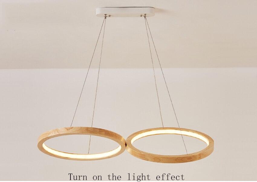 Современные светодиодный подвесные светильники Nordic Обеденная два Деревянный Круглый Крытый Decortion подвесная кухонная лампа светильники Светильник