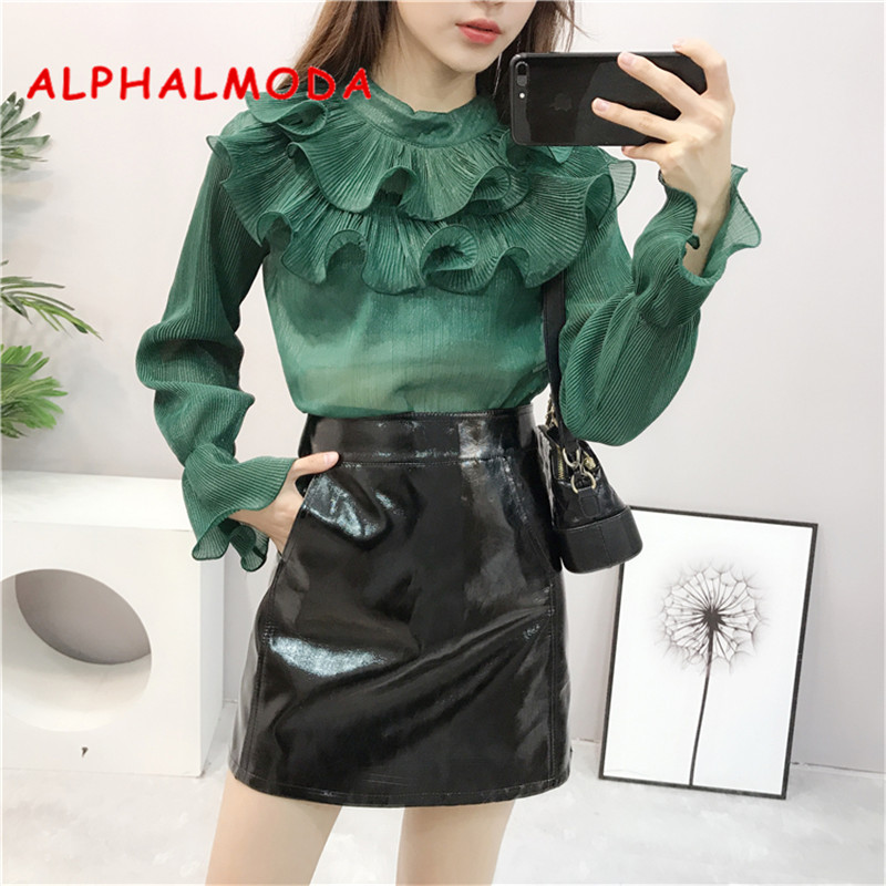 2019 Fashion 2019 New Blouse Womens Lace See Through Aliexpress Explosion Models Fishnet Stitching Pocket Shirt Vestidos Blk9075 Women's Clothing