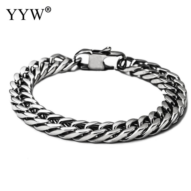 Top quality Men jewelry wholesale silver plated curb chain Stainless Steel bracelets & bangles