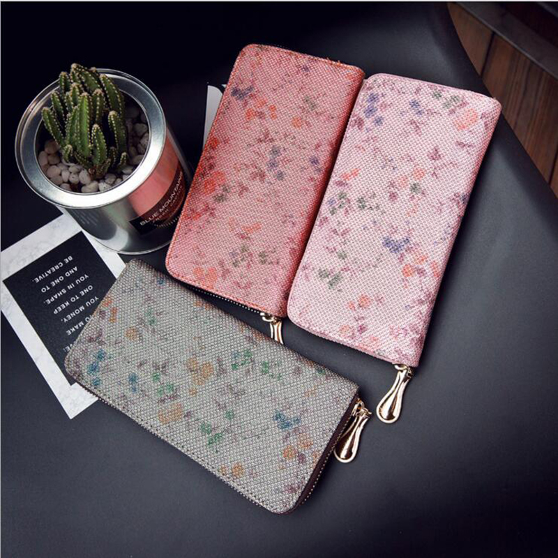 2018 Hot Fashion Women For Wallet Flower Pink High PU Leather Zipper Large Capacity Diamond Lattice Pocket Card Holder