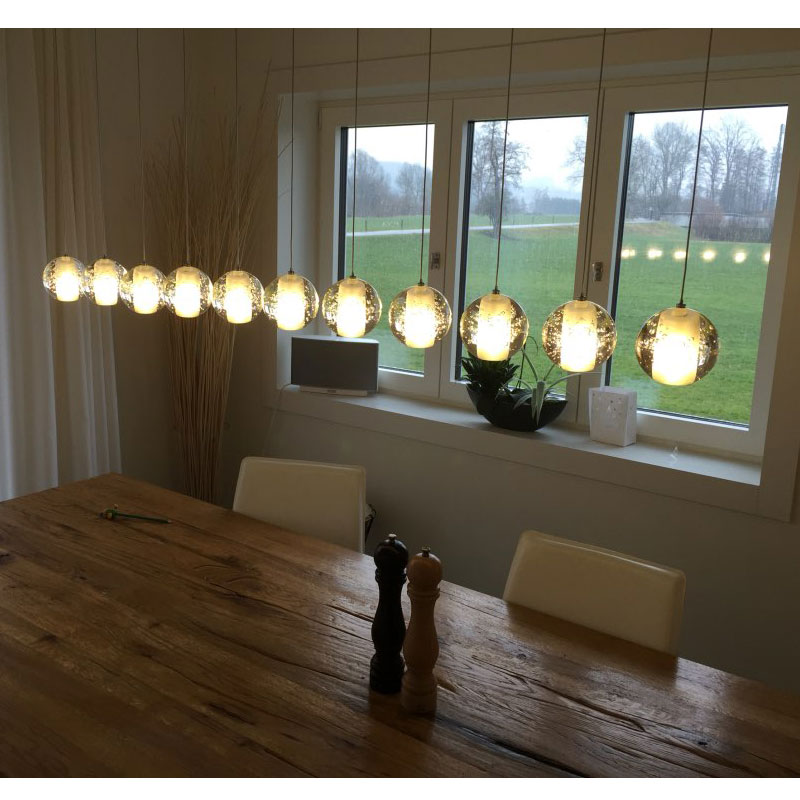 Modern LED crystal chandelier lights Rectangle chandeliers for dining room restaurant Crystal ball lamp shade with LED Bubbles modern crystal chandelier hanging lighting birdcage chandeliers light for living room bedroom dining room restaurant decoration
