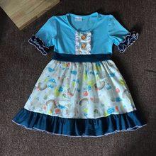 062c64855d9e Cotton Baby Girls dress Summer floral Flower boutique Infants toddler Kids  ruffles blue dog big girl princess dress frocks