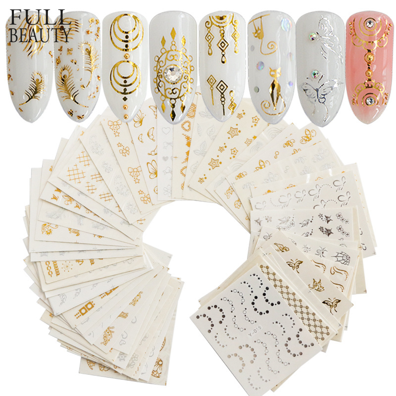 Full Beauty 30pcs Gold Silver Nail Water Sticker Feather Flower Spider Design Decal For Nails Decoration Nail Art Manicure CHY 1 5mm 2mm 3mm gold silver hot fix flatback half round nail art rivet punk rock style for 3d nail art decoration