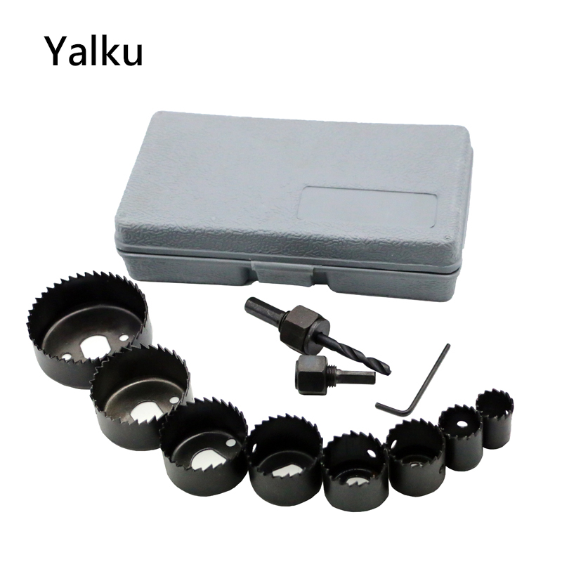 Yalku Hole Saw Drill Bit Set Tools Kit Drill Hole Opener Ceiling Carbon Steel Hole Saws Drill Bit Set Power Tool Kit 11pcs