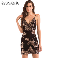 DeRuiLaDy 2017 Women Sexy Sequins Dress Deep V Neck Sling Backless Gold Black Dresses Luxury Party