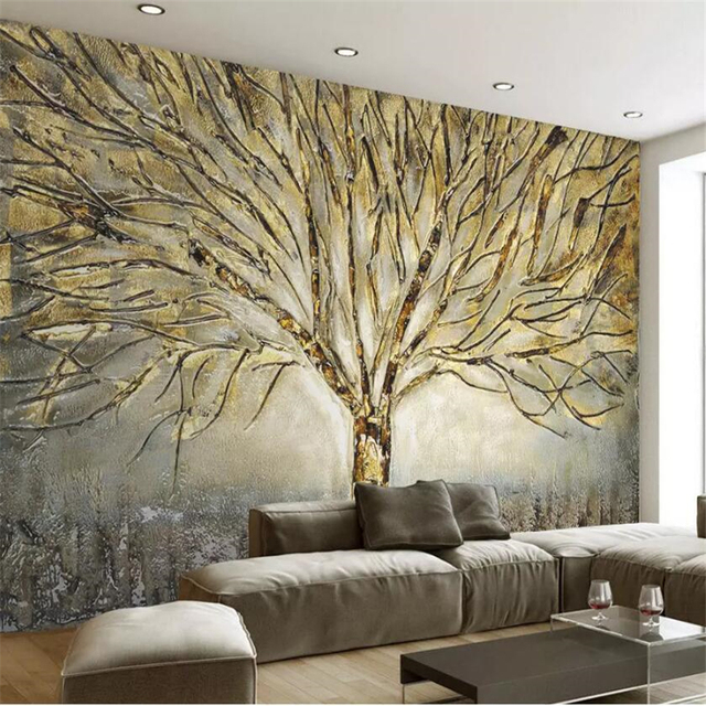 beibehang Custom wallpaper 3d photo murals modern American metal embossed fashion a tree oil painting TV background wall paper