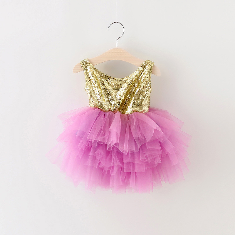 Buy Cheap EMS DHL Free Shipping Little Girl's Holiday Lace Casual kids dress Princess Gold Violet Dress Sequin Tiers Tutu Dress 90-130