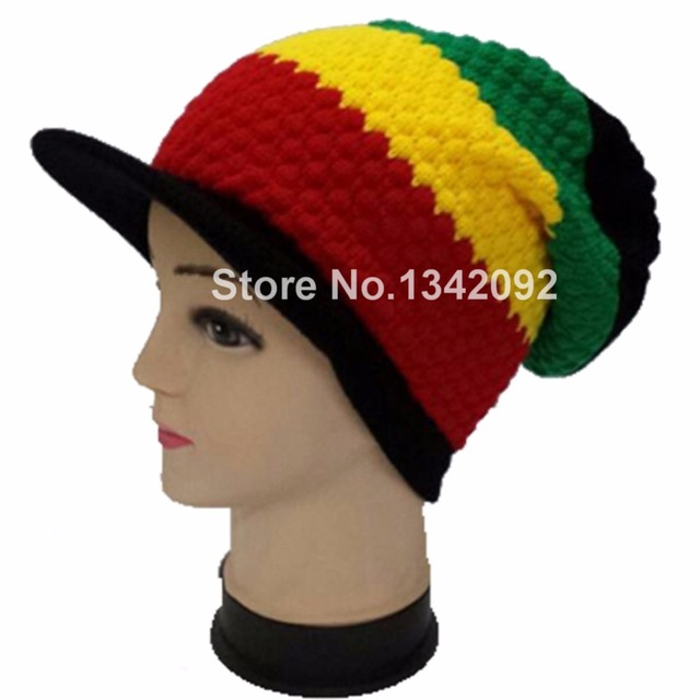 New Rasta Reggae Knit Visor Beanie Cap Jamaica Marley Slouch Tri-color Hippie  Hat Patchwork Design Black Yellow Green Red 7d31a88ff4a