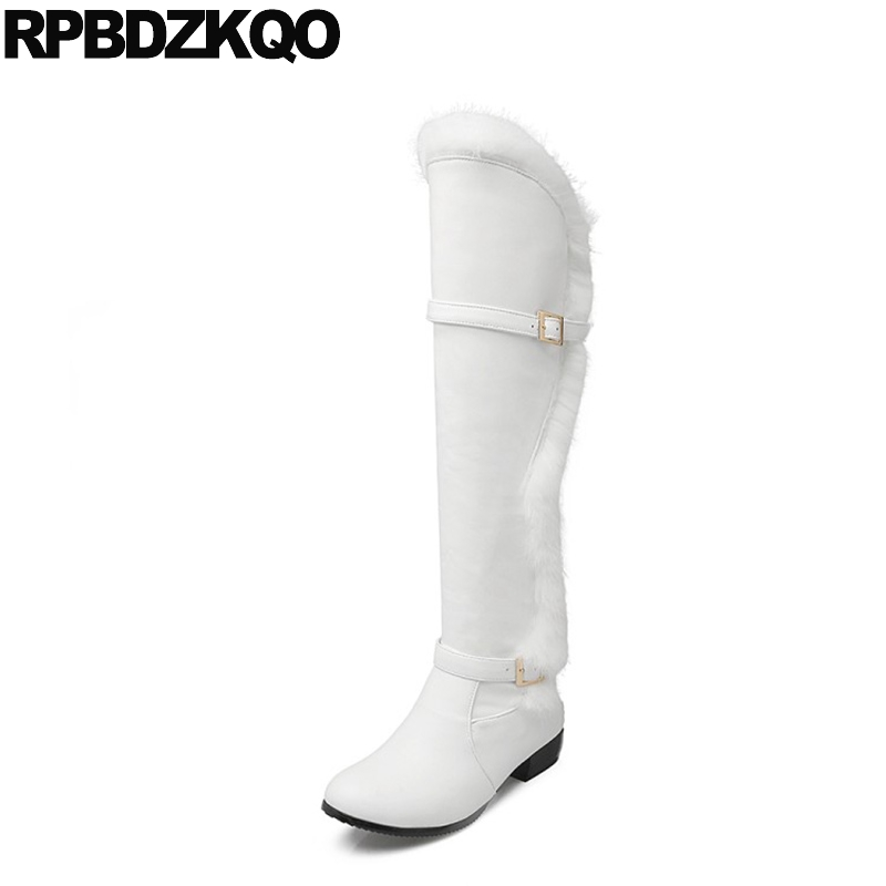 Wide Calf Big Size Low Heel Elevator Long Waterproof Snow Boots Women Faux Fur Furry Knee High White Winter Belts Over The Slip faux fur white winter boots