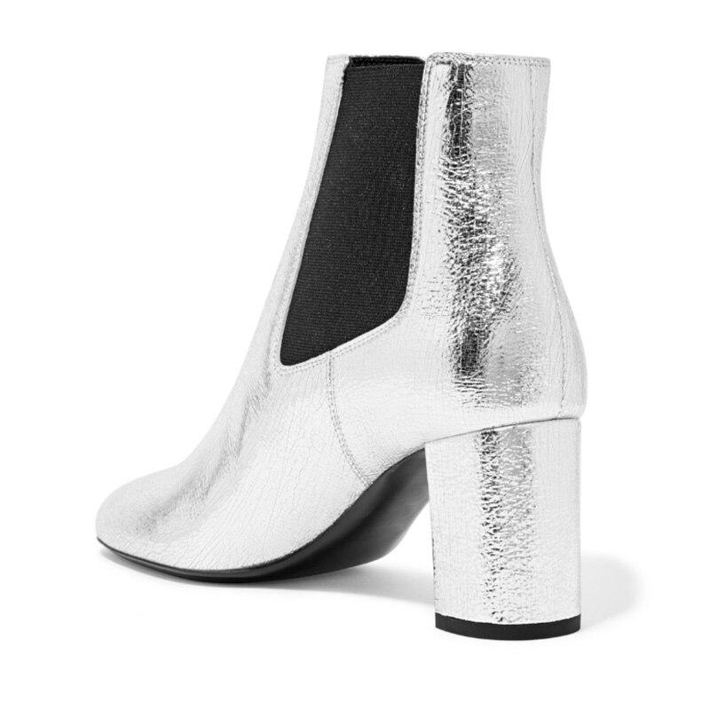 737116213780 Carré Cuir Femme Bout Chaussures Mode Zipper Courte Parti Cheville Bottes  Haute Pointu Argent Sexy Dame Botte En Fsj01 Verni ...
