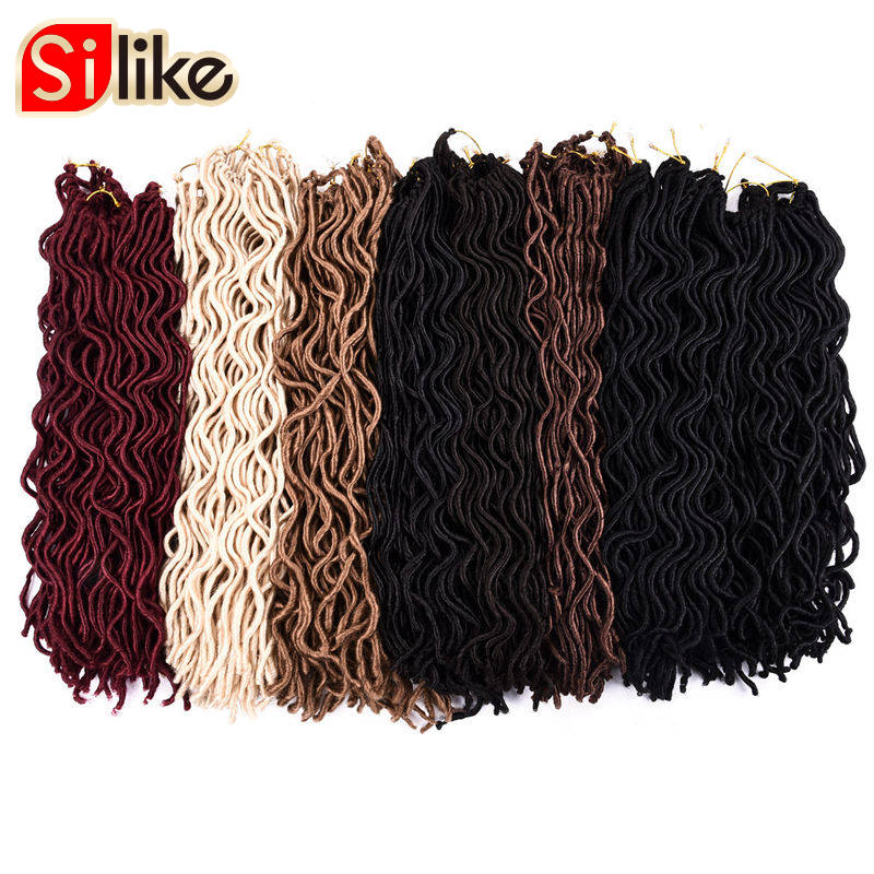 "Silike 24 Roots Wavy Small Short Faux Locs 10"" 20'' Crochet Braids Hair Extension for Kids and Black Women 60g-100g/pack"