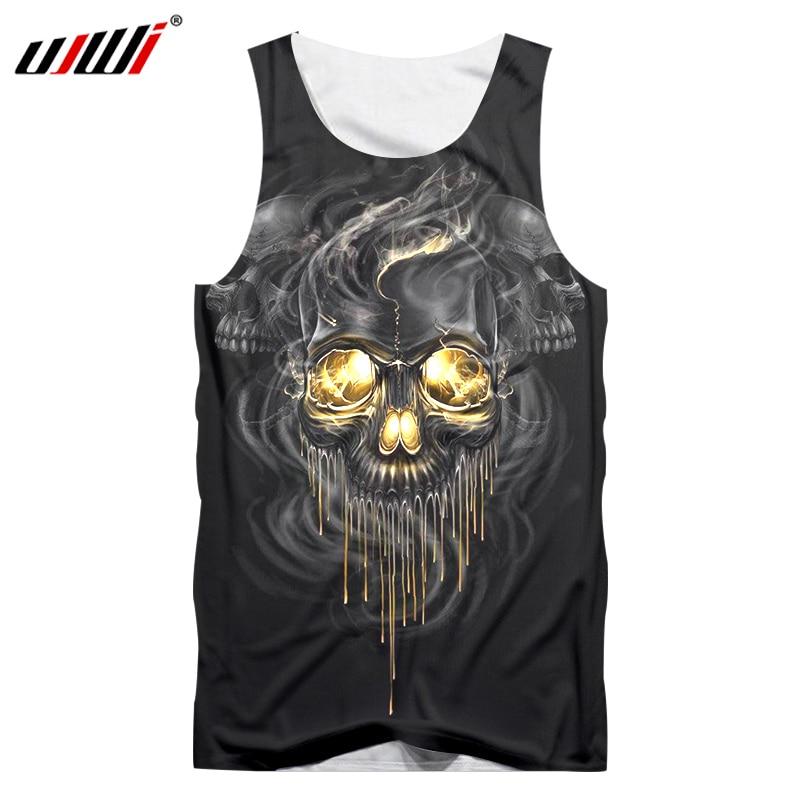 UJWI Men's Summer   Tank     Tops   3D Print Smoking Metal Skull Vest Hombre Fit Slim Jersey Sleeveless Tee Shirts Undershirts Dropship