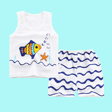 Fashionable Child's Sleepwear Cotton Pajamas Sets For Boy/Girls Cartoon Star/Spider/Fish printed Baby Clothes Vest+Shorts