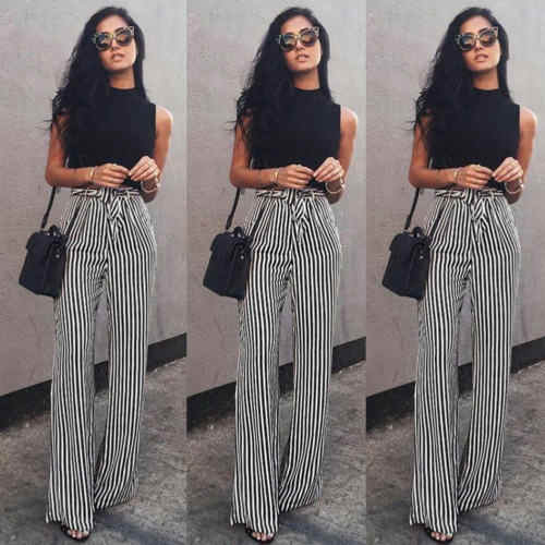 5a2af8f8abc Detail Feedback Questions about 2018 Fashion Newly Women Striped Wide leg  pants Bandage Loose Pants High Waist Palazzo Chic Casual Long Pants Loose  Trousers ...