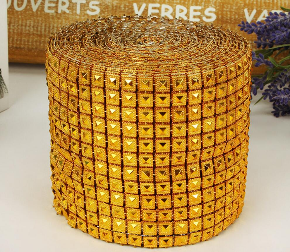 10yard 12row Gold Pyramid Studs Spots Bendable Mesh Wrap Roll Goospery Samsung Note 5 Bravo Diary Case Chain Trim For Sewing Apperal Bag Shoes Cap Decoration