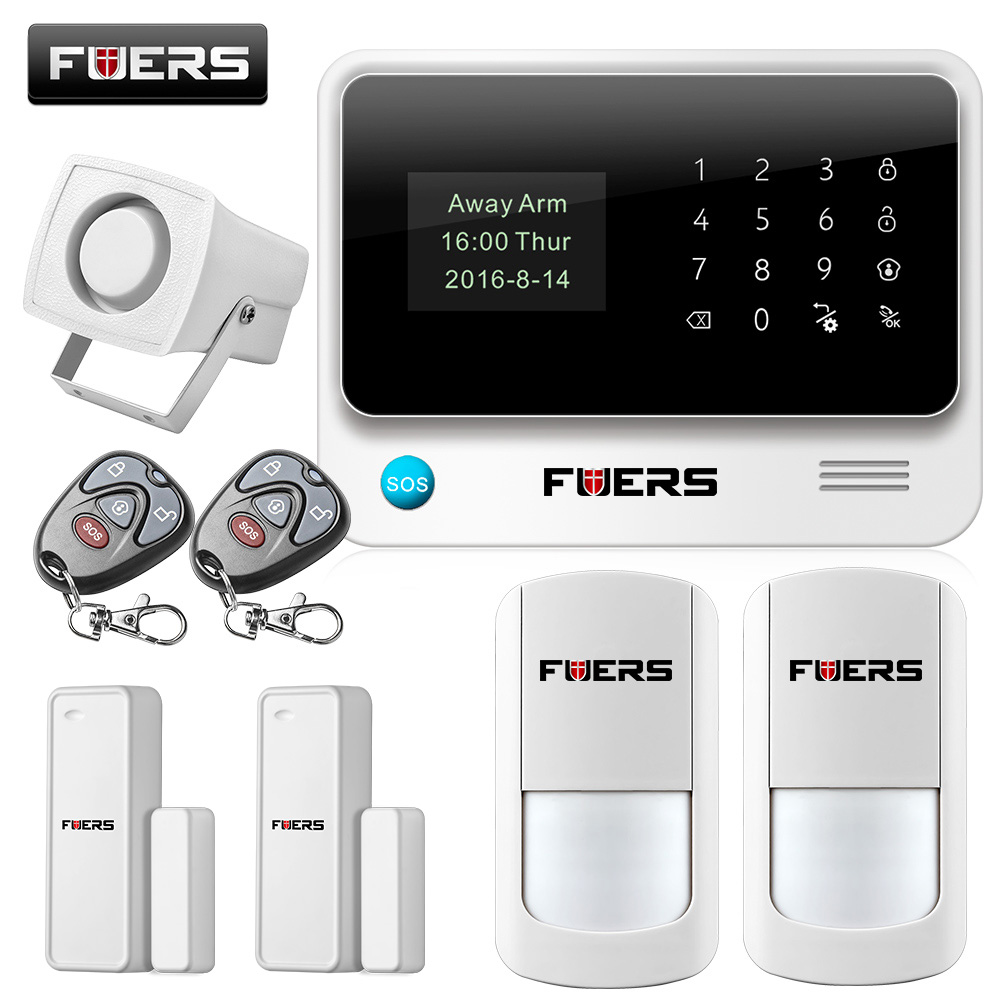 Fuers 2017 Update G90B WiFi GSM Home Security Alarm System with Wireless PIR Detector Door Sensor 8 wire zone Alarm System fuers wifi gsm sms home alarm system security alarm new wireless pet friendly pir motion detector waterproof strobe siren