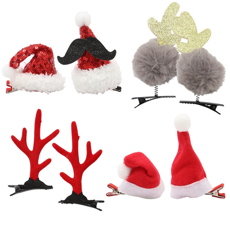 Christmas Ornament Headdress Cute Super Cute Hair  Adult Children Gift Plush Antler Hair Card Holiday Supplies