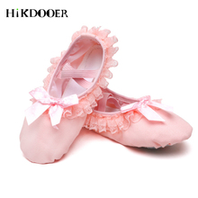 2019 Children Ballet Shoes Canvas Soft Flat Dancing Lace Design Top Quality Professional Slippers For Girl
