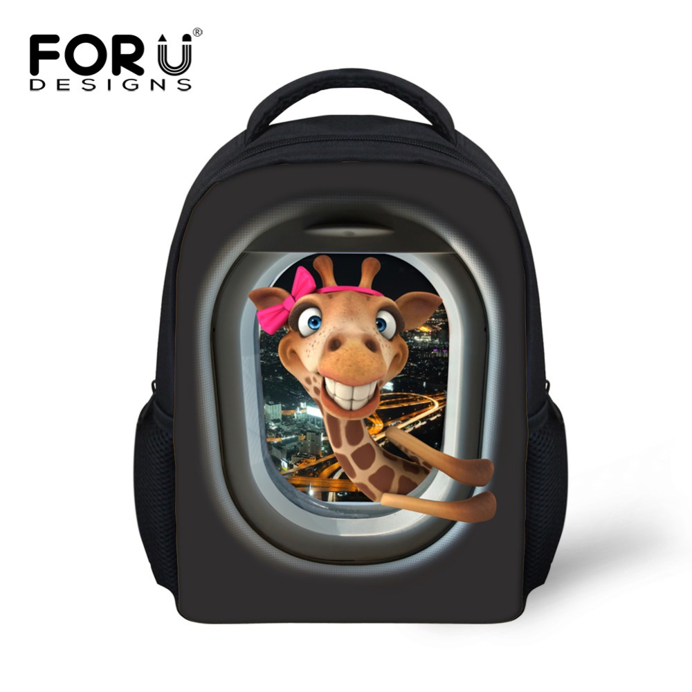 Small 3D animal cute giraffe duck print school bag for girls boys sac a dos children schoolbag kids kindergarten mochila escolar ...