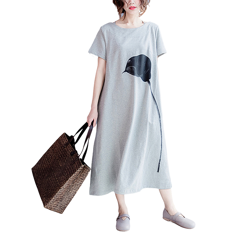 Uppin Women Dress Cotton Plus Size T-shirt Dress Summer Style Fashion Casual Loose Female Black Long Tshirt Dresses Large Size Women's Clothing