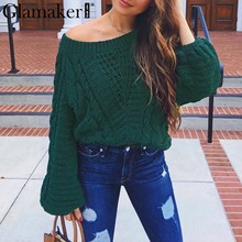 Glamaker Oversize one shoulder jumper sweater Women pullover crochet long sleeve sweater Female knitting sweater summer clothes(China)