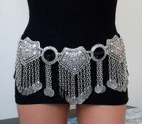 Fashion Gypsy Bohemian Boho Vintage Silver Plated Inlay Acrylic Beads Coin Tassel Pendant Waist Belly Dance