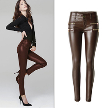 European and American Style Women Leggings Pants Import Female Leather Pants Long Summer Spring PU Leather Pants Zipper S2808