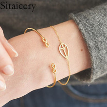 Sitaicery 2pcs/set New Korean Hot Fashion Simple Metal 8 Infinity Charm Bracelets For Women & Men Jewelry Summer Style Beach