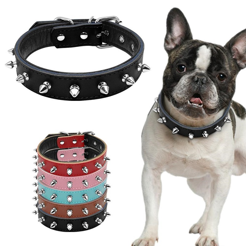 Height Quality Leash Spiked Studded Padded Leather Dog Collars For Small Medium Dogs Pet Accessories Adjustable S M L 5 Colors