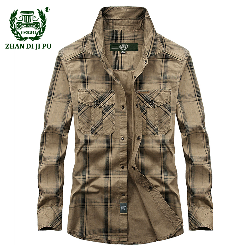 2018 Autumn Men's Casual Brand Army Green Plaid Plus Size Long Sleeve Shirt Spring Man 100% Cotton Afs Jeep Khaki Grid Shirts