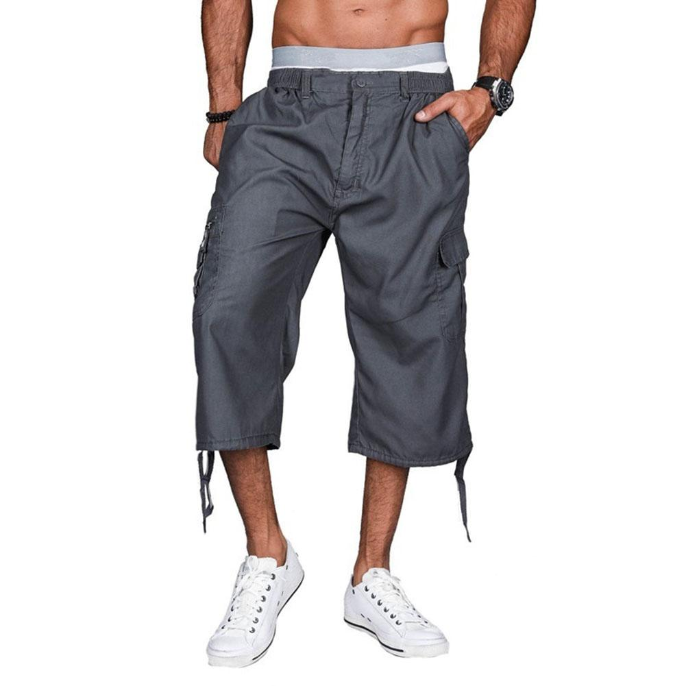 Casual Summer Outdoor Men Solid Color Loose Capri Pants Cargo Trousers Hot