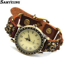 Samyeung Punk Leather Watch Bracelets Men Anime Handmade Skull Bracelet Friendship Braslet Charm Bracelet Women Braclet Quartz