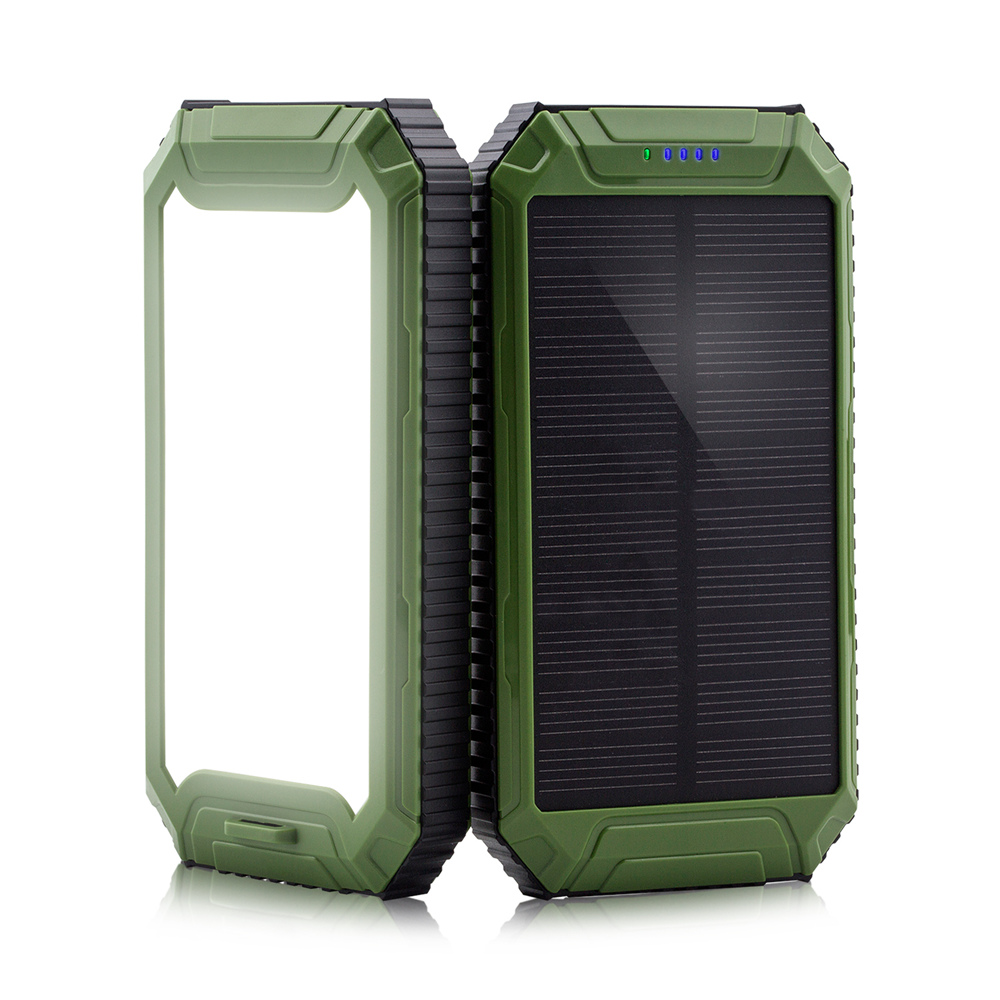 PowerGreen Li-polymer Battery Power Banks 10000mAh LED Solar Charger External Mobile Phone Battery Pack with Keychain Design