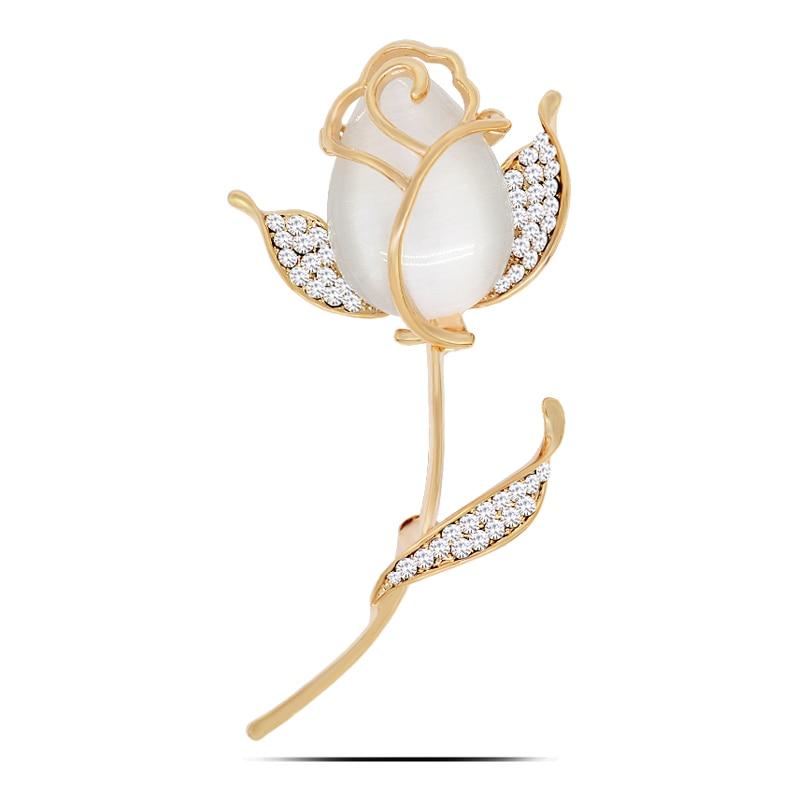 Elegant Gold Color Tulip Brooch Pins Scarves Colth Collar: B641 Tulip Flower Brooch Pins Gold Color Jewelry Korean