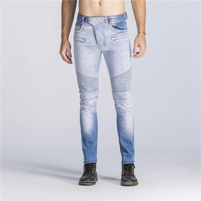 2018 Fashion Pleated Denim Jeans Pants Men Slim Moto Biker Pants Trousers Hip Hop Washed Bleached Mens Casual Pants